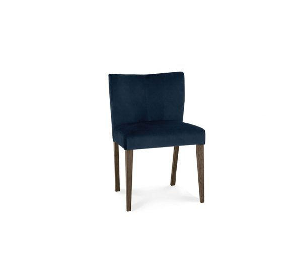Avocado Low Back Chair Dark Oak Dark Blue Velvet