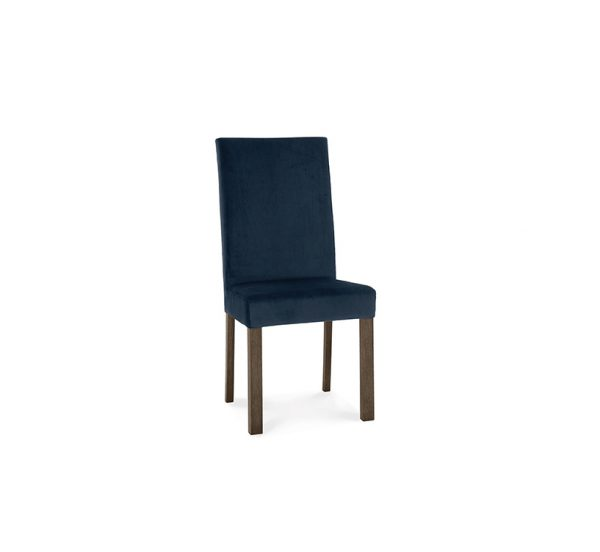 Avocado Square Back Chair Blue Velvet Dark Oak