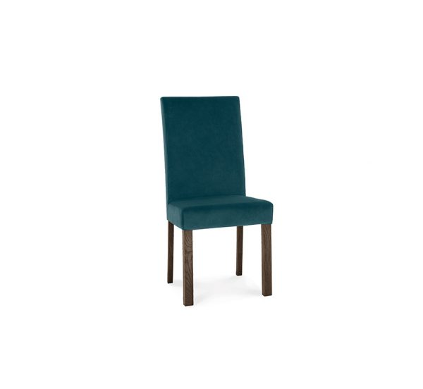 Avocado Square Back Chair Sea Green Velvet Dark Oak