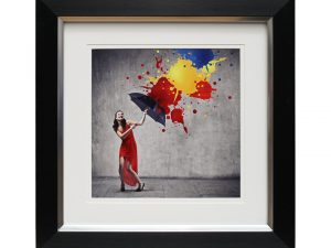 A Splash Of Happiness Woman in Red Dress with Umbrella Colourful Abstract Framed Artwork 50x50