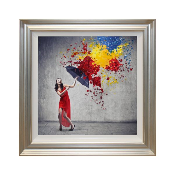 A Splash of Happiness Woman in Red Dress with Umbrella Colourful Framed Liquid Art W94 x H94