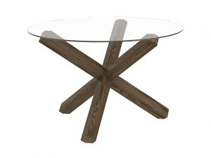 Sopha Avocado 4 Seater Glass Top Round Table Dark Oak