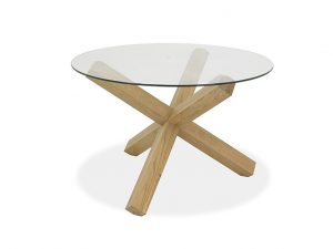 Sopha Avocado 4 Seater Glass Top Round Table Light Oak