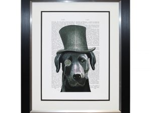 Barnaby Black Labrador Top Hat Dog Portrait Framed Newspaper Artwork W52 x H62cm