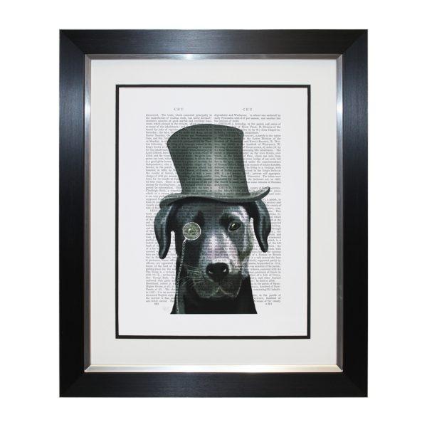 Barnaby Black Labrador Top Hat Dog Portrait Framed Newspaper Artwork W52 x H62cm
