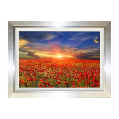 Country Horizon Poppy Rural Countryside Field at Dawn Dusk Sunrise Sunset Framed Landscape Artwork W114 x H84