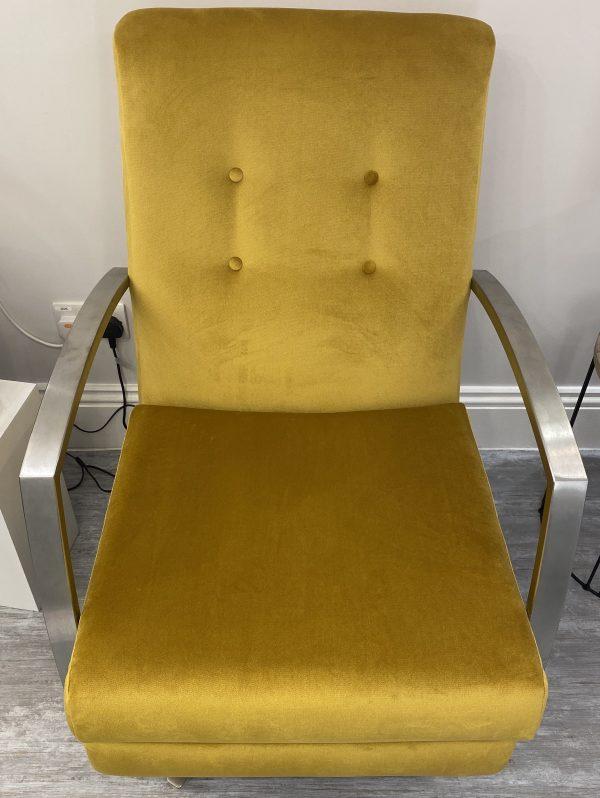 Custard Tart Swivel Chair in Mustard Velvet