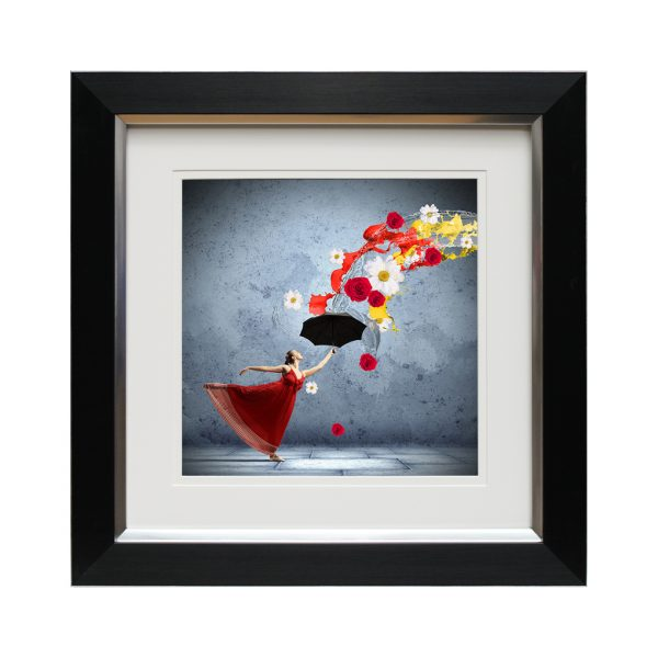 Dancing With Flowers Woman in Red Dress with Umbrella Framed Portrait Artwork W50 x H50