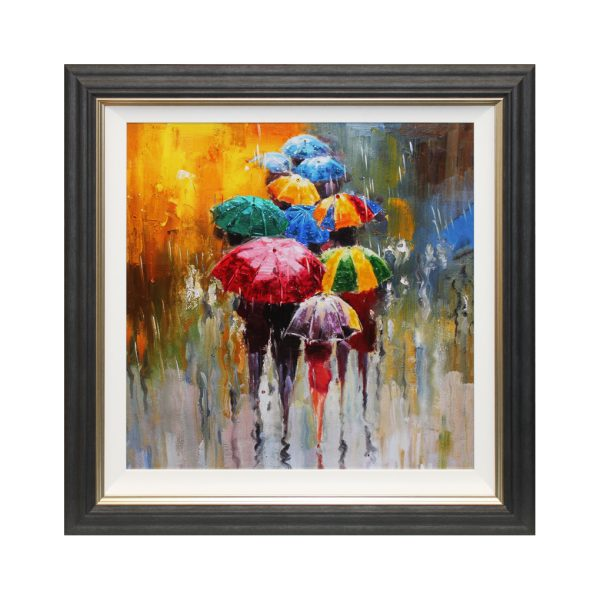Figures in the rain colourful umbrella people abstract liquid art W92.5 x H92.5