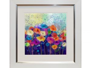 Growth Abstract Multicoloured Colourful Rainbow Flowers Framed Artwork W50 x H50