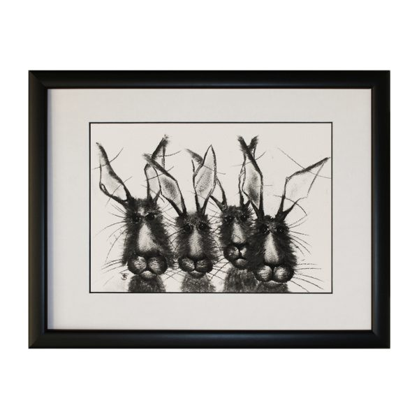 Hare Drove Framed Abstract Rabbit Bunny Artwork
