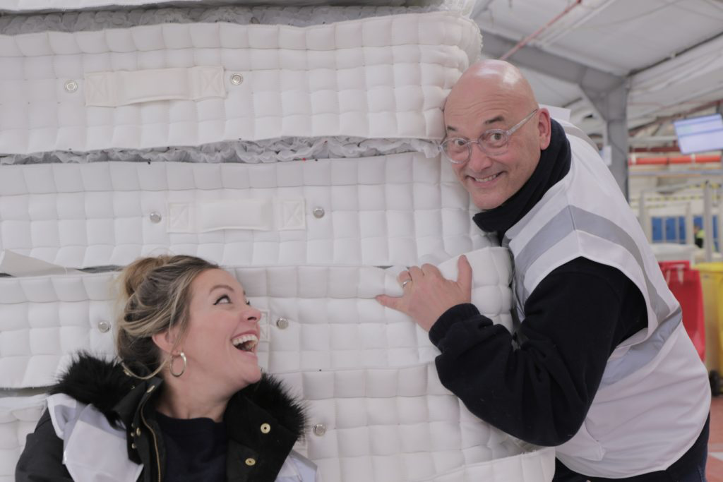 Gregg Wallace and Cherry Healey inside the Somnus Factory