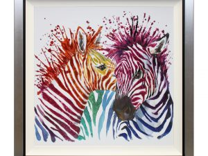 Love In All Colours Rainbow Multicoloured Colourful Abstract Zebra Liquid Art W87 x H87