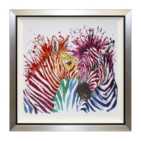 Love In All Colours Rainbow Multicoloured Colourful Abstract Zebra Liquid Art W87 x H87