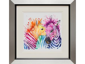 Love In All Colours Small Rainbow Colourful Abstract Zebra Framed Artwork W50 x H50