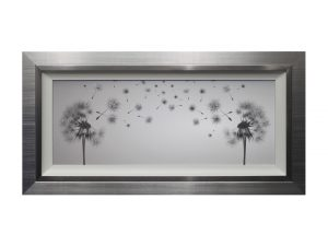 Make a Wish Framed Silver Grey Dandelion Artwork W58 x H114
