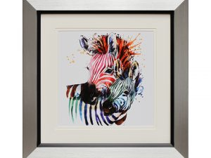 Mother's Pride Rainbow Zebra Abstract Multicoloured Framed Artwork W50 x H50