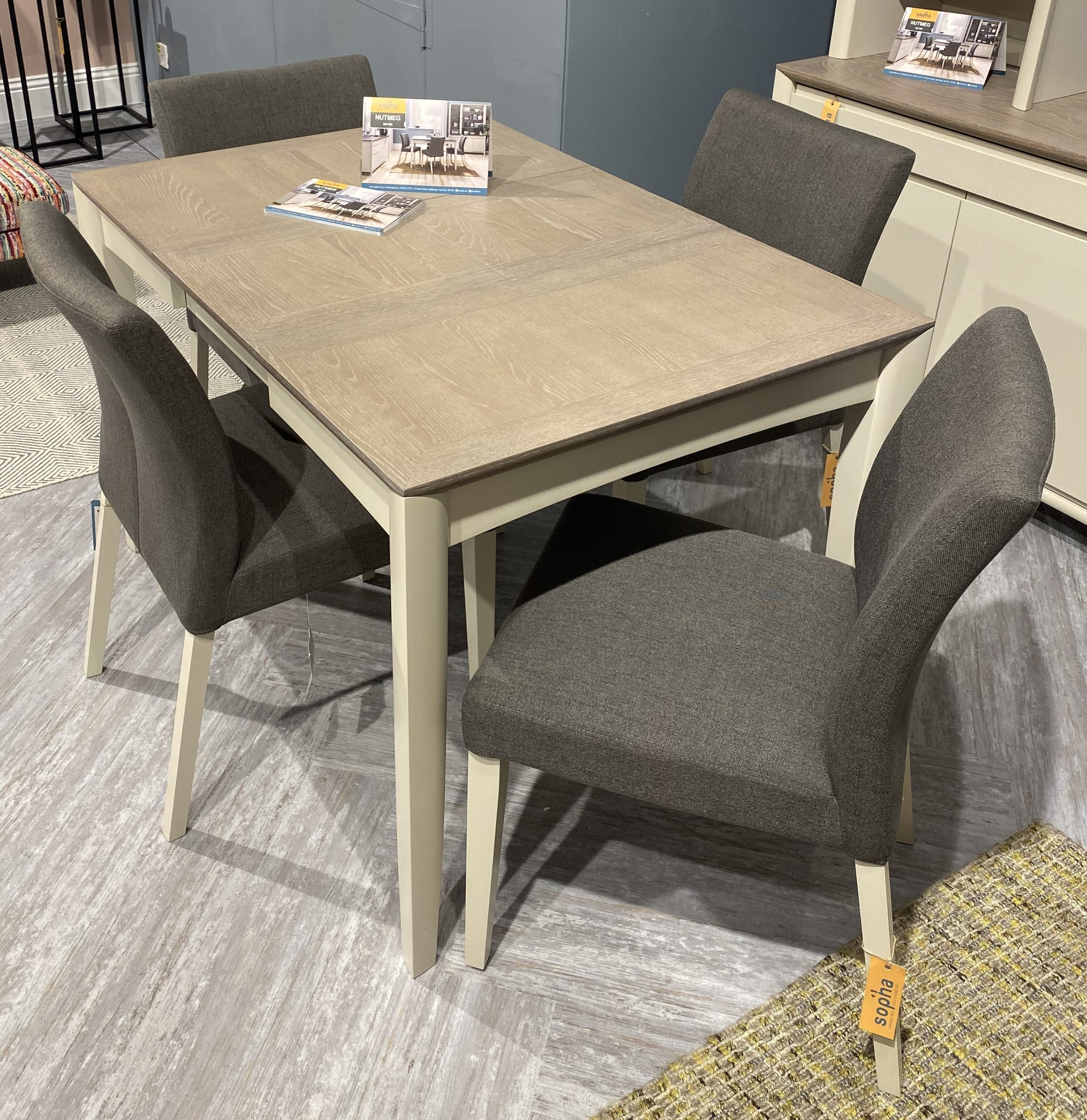 Nutmeg Two Tone 2 4 Extending Dining Table With 4 Chairs