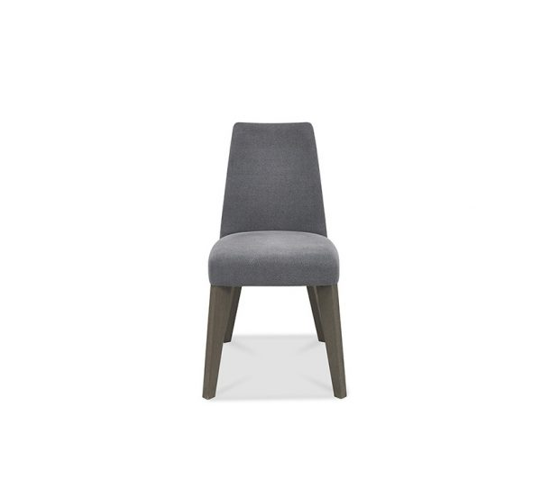 Pepper Upholstered Chair Dark Oak Slate Blue Leather