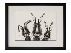The Hare Boys W33 x H43 Rabbits Bunnies Hares Abstract Artwork