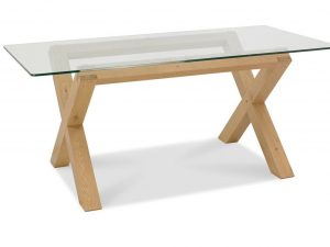 Sopha Avocado light oak glass top dining table