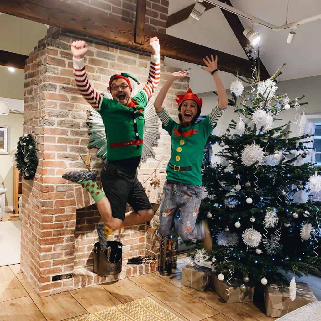 Shop Elves: Adam & Emma jump for joy