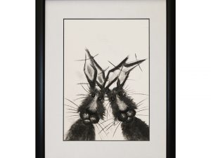 Joey and Chandler Framed Abstract Rabbits Bunnies Hares W33 x H43