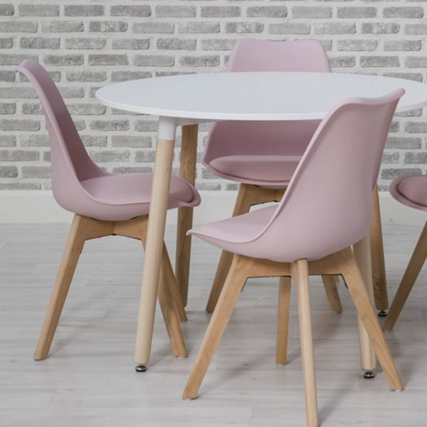 mint table and pink chairs