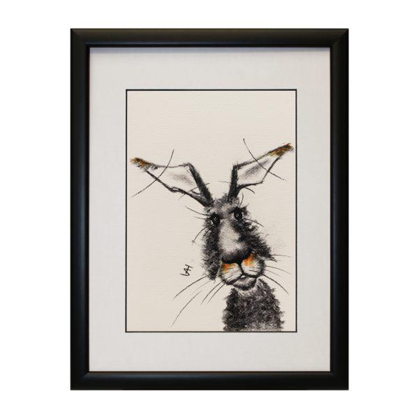 Monica W33 x H43 Framed Abstract Hare Rabbit Bunny Portrait Artwork