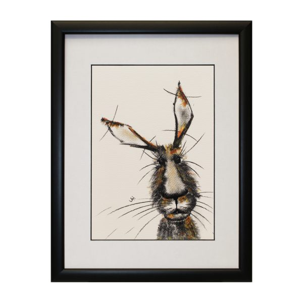 Phoebe W33 x H43 Framed Abstract Hare Rabbit Bunny Portrait Artwork