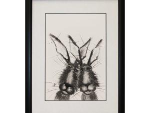 Ross and Rachel W33 x H43 Framed Rabbits Bunnies Hares Portrait Artwork