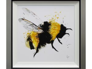 Scruffy Bumblebee Buzz Framed Abstract Artwork W87 x H87