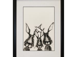 The Hare Girls W33 x H43 Hares Bunnies Rabbits Abstract Portrait Artwork