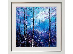 Season Winter Wintry Seasonal Woodland Woods Forest Blue Framed Artwork W69 x H69