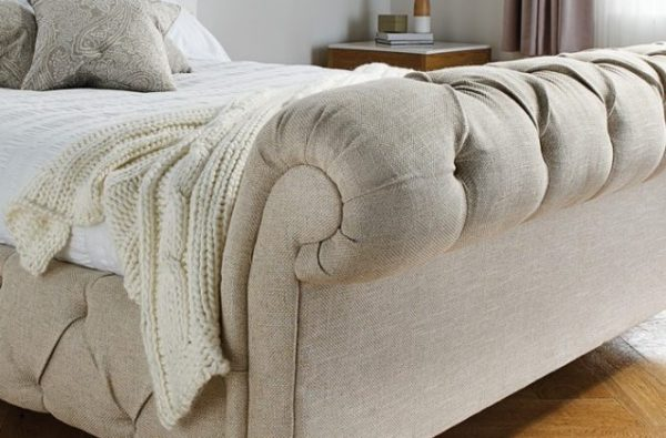 chelsea buttoned high end sleigh bedframe