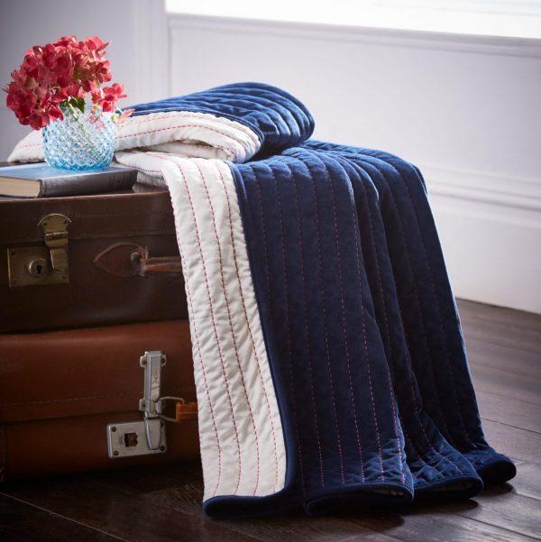 Midnight Blue Velvet Throw Blanket W135 / H200