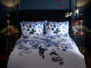 Oasis Exotic Blue Mauve Lavender Floral Duvet and Pillowcase Set
