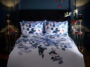 Oasis Exotic Blue Mauve Lavender Floral Duvet and Pillowcase Set