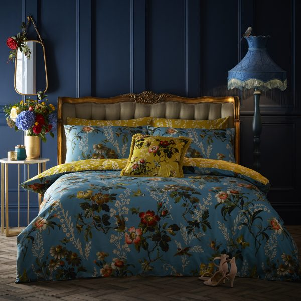Oasis Leighton Multi Teal and Ochre Floral Duvet and Pillowcase Set
