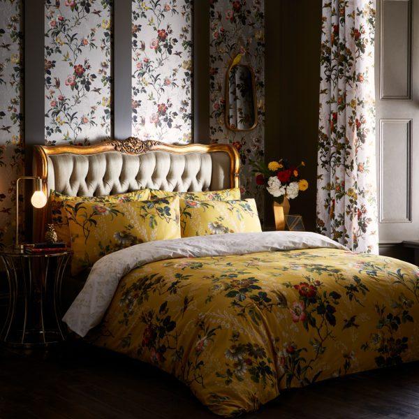Oasis Leighton Ochre Floral Duvet and Pillowcase Set