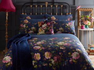 Renaissance Midnight Blue Floral Duvet and Pillowcase Set
