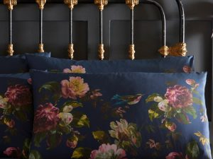 Renaissance Midnight Blue Floral Pillowcase Pair Set