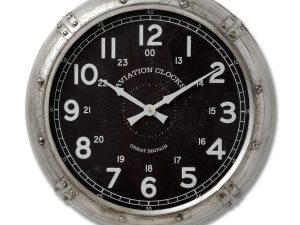 Aviator Silver Black Wall Clock W51 D11 H51