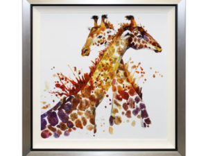 Bonjour - Framed Abstract Giraffes Liquid Art 87 x 87cm