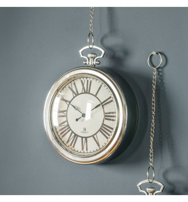 Cairo chrome Roman numeral clock with chain W23.5 D6 H28
