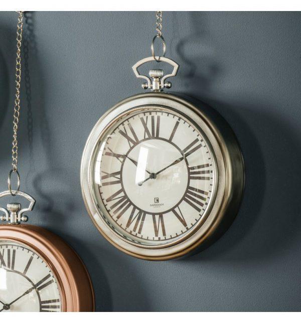 Cairo Chain Wall Clock Nickel W23.5 D6 H28