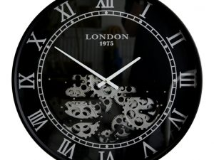 black and chrome Roman numeral cog clock