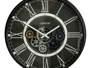 black and chrome roman numeral cog clock