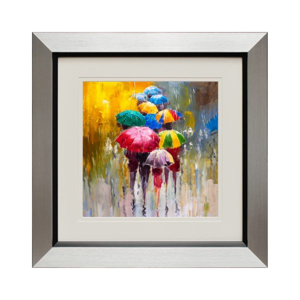Figures in the rain (small) 50 x 50cm - abstract rainbow people with umbrellas
