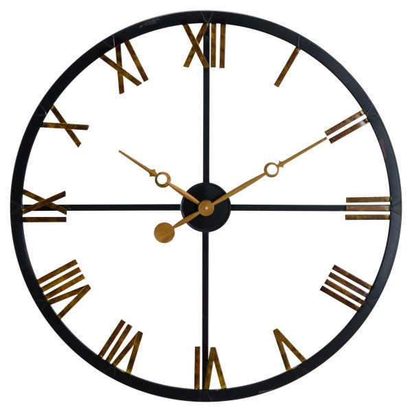 Harrisburg Black and Gold Roman Numeral Skeleton Wall Clock W80 D7 H80